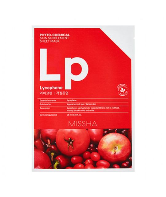 "Missha Phytochemical Skin Supplement Sheet Mask ""Lycophene/Peeling Tone Up"", 25 ml"