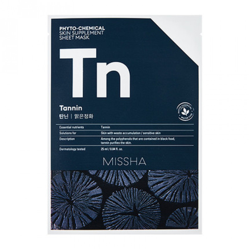 "Missha Phytochemical Skin Supplement Sheet Mask ""Tannin/Purifying"", 25 ml"