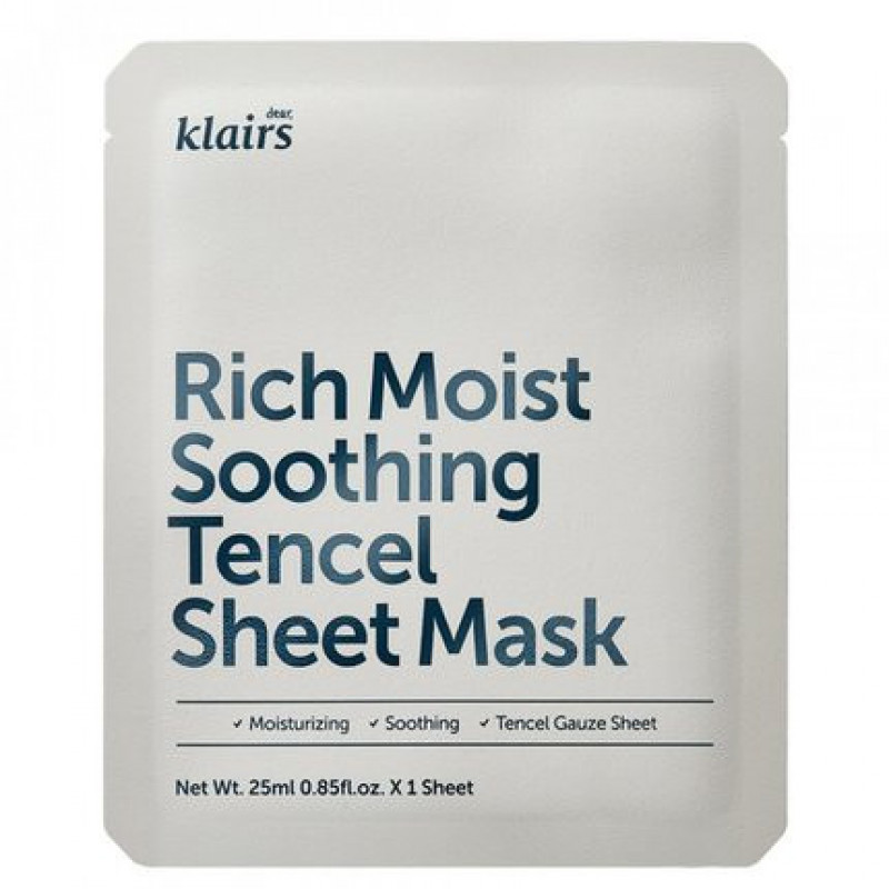 Klairs Rich Moist Soothing Tencel Sheet Mask, 25 ml