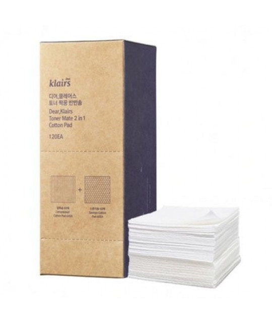 Klairs Toner Mate 2 in 1 Cotton Pad, 120 ea