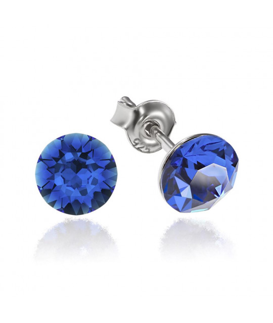 Earrings Xirius, Blue Capri, 6 mm