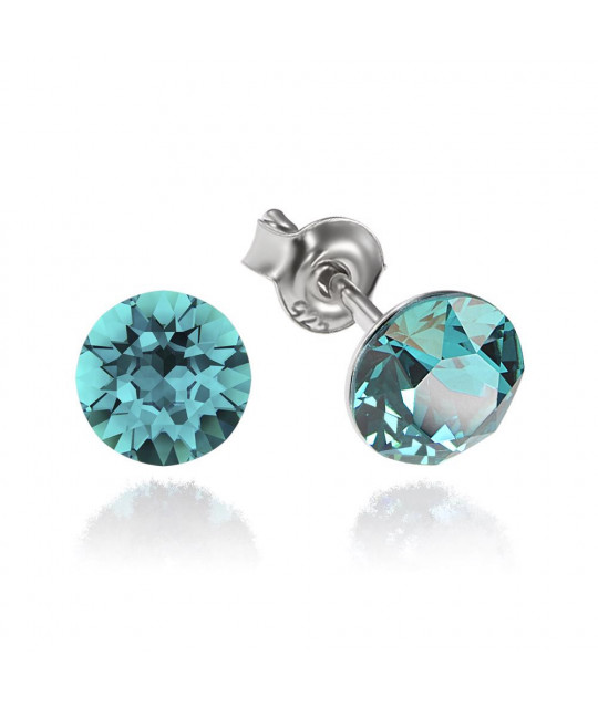 Earrings Xirius, Blue Zircon, 6 mm