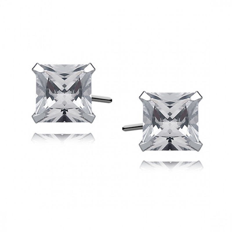 Silver earrings white zirconia, 6 x 6mm Square