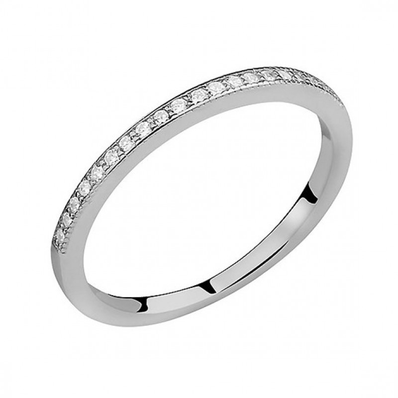 Sidabrinis subtilus žiedas su baltu cirkonio, EU-14
