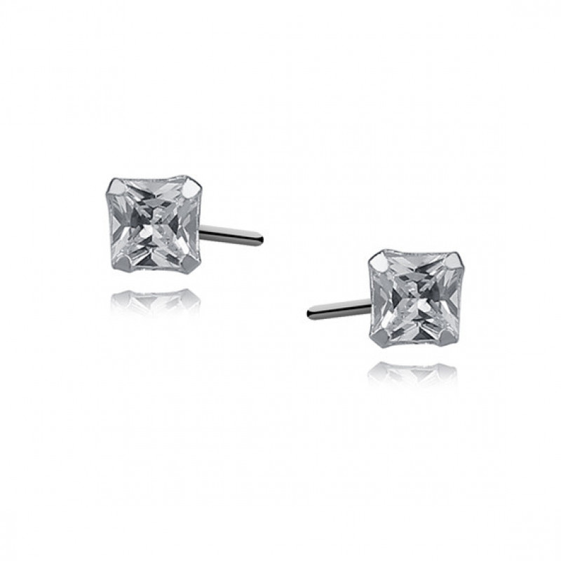 Silver earrings white zirconia, 4 x 4mm Square
