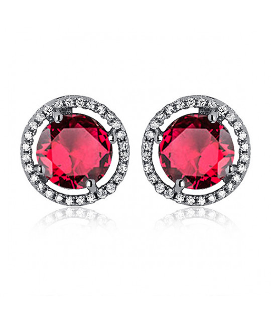Silver earrings, Round ruby