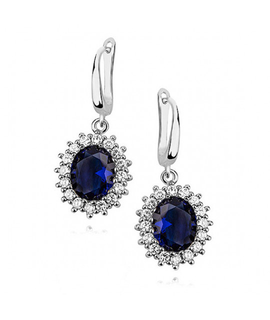 Silver earrings zirconia, coloured Sapphire