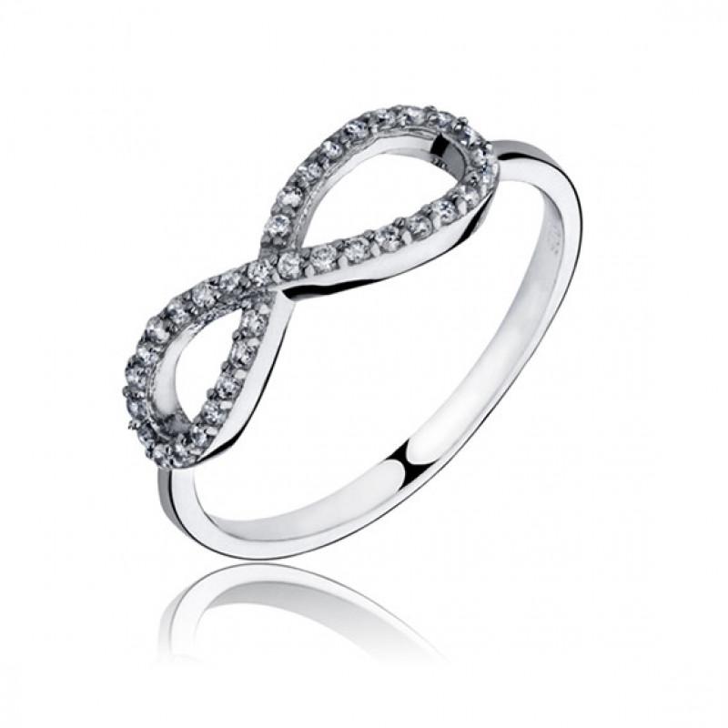Silver ring with white zirconia, Infinity EU-14