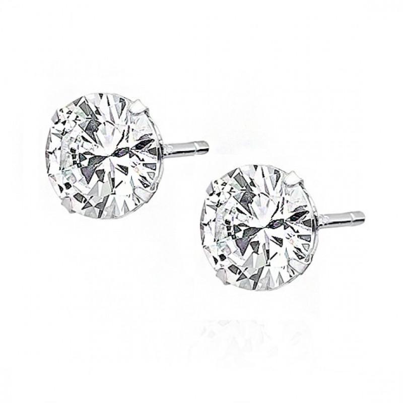 Silver earrings white zirconia, 6 x 6mm Circle