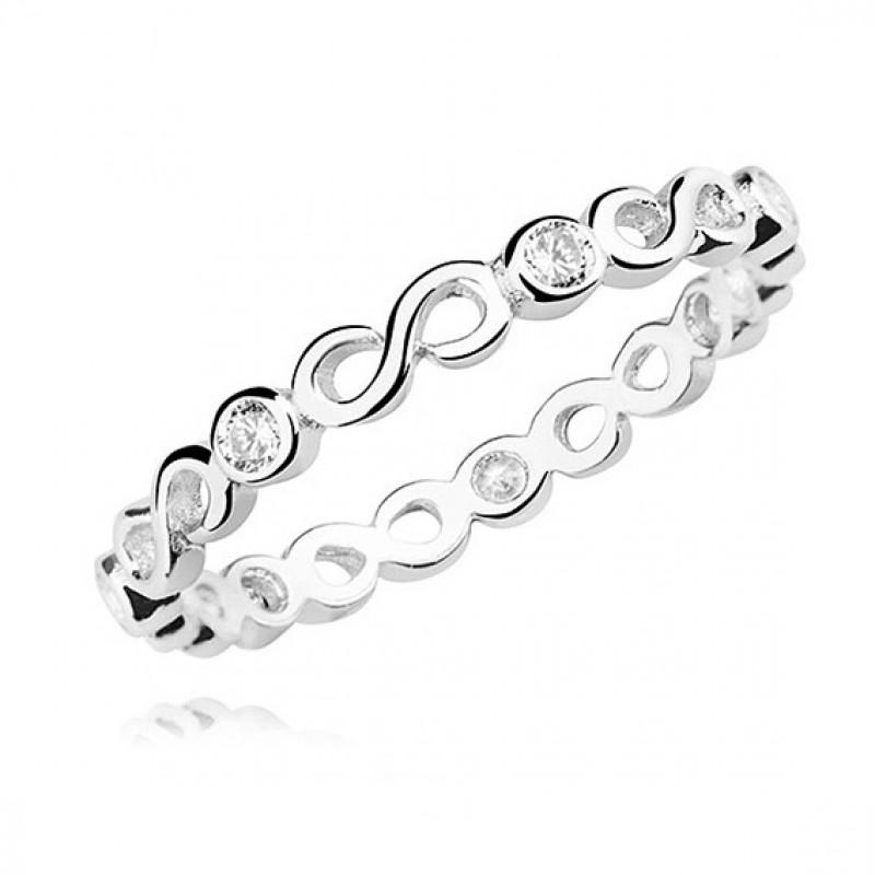 Silver ring with white zirconia, Infinity #2 EU-15