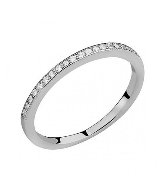 Silver subtle ring with white zirconia, EU-14