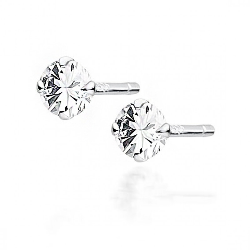 Silver earrings, White zirconium, 4mm, 0.5g