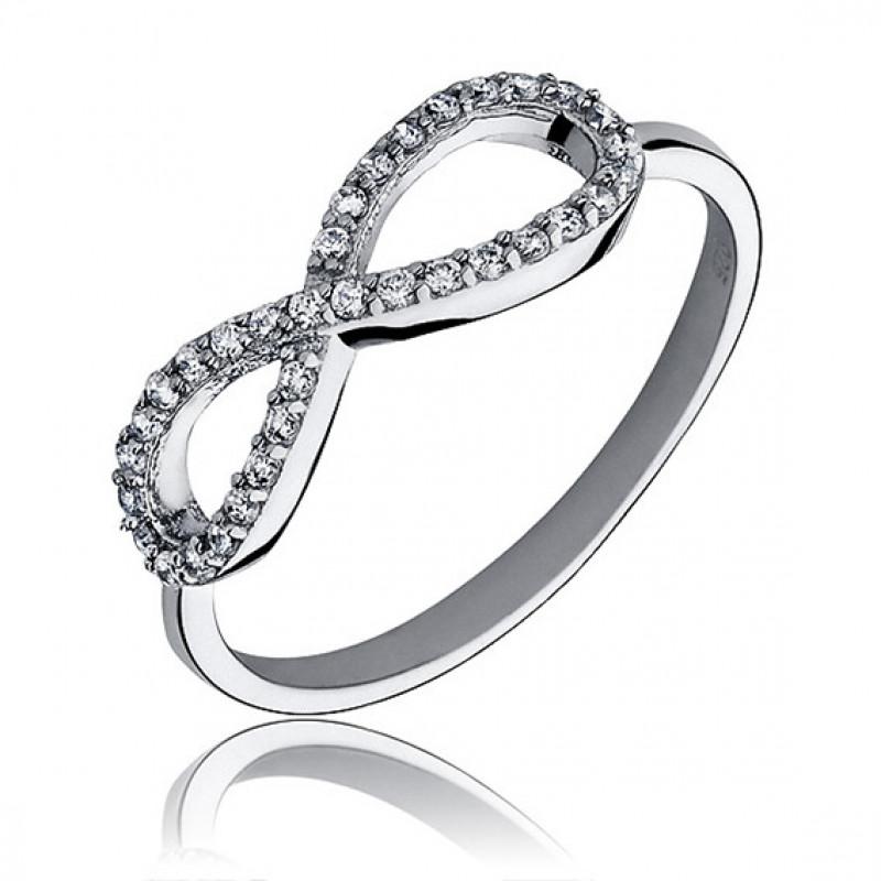 Silver ring with white zirconia, Infinity EU-13
