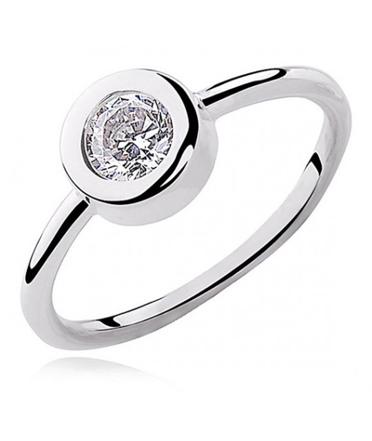 Silver round ring with white zirconia, EU-14