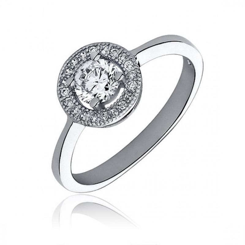Silver ring with white zirconia, EU-16
