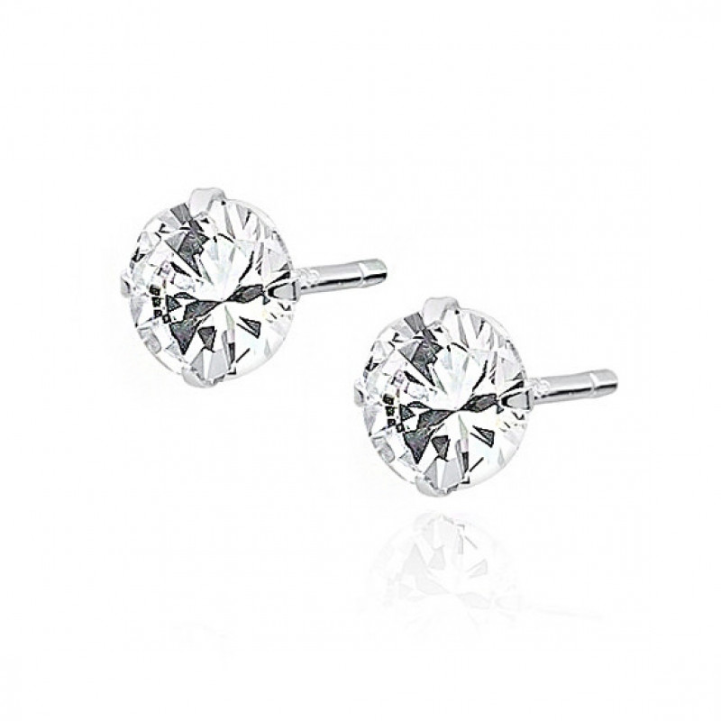 Silver earrings, White zirconium, 5 mm