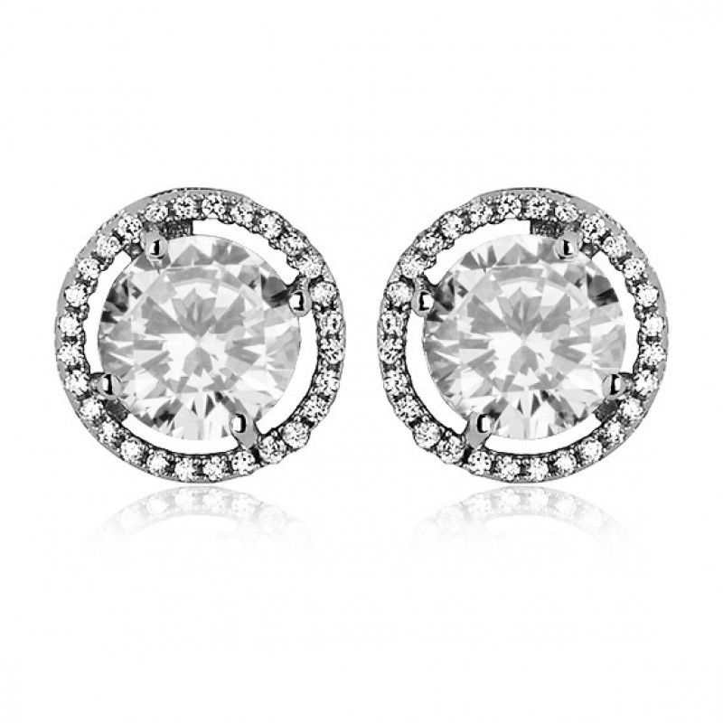 Round white earrings, Silver