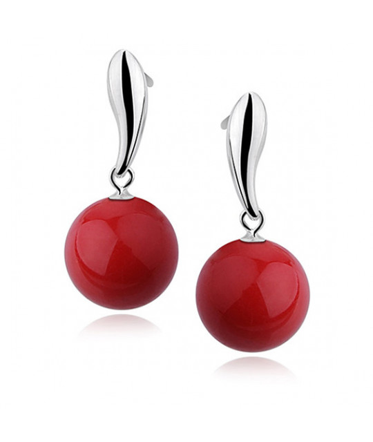 Silver earrings, Red balls