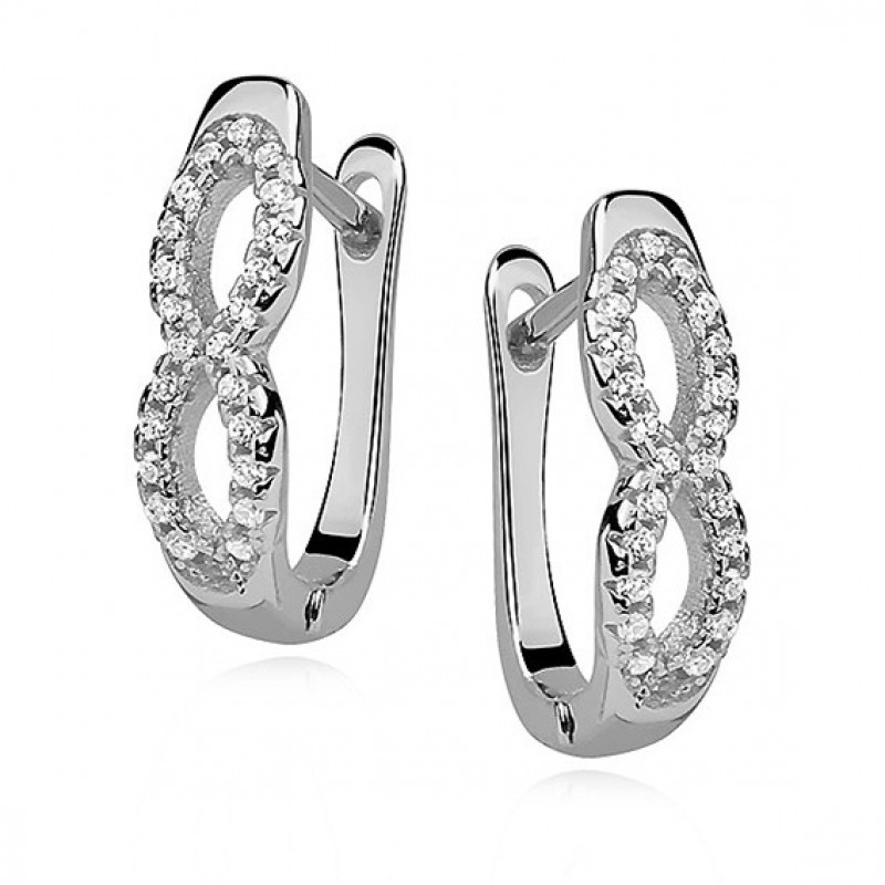 Silver earrings white zirconia, Infinity