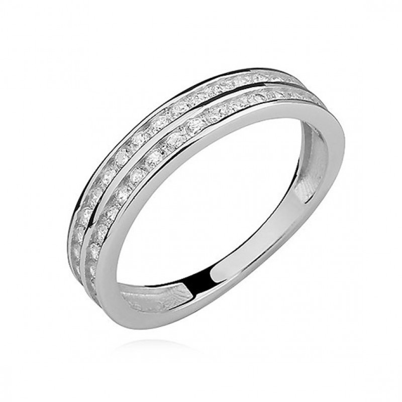Silver ring with white zirconia, EU-17