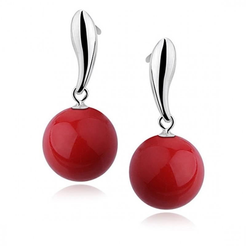 Silver earrings, Red balls