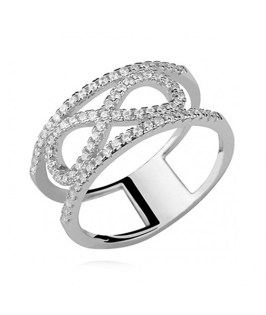 Silver ring with white zirconia, Infinity EU-13