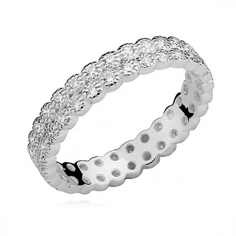 Silver ring with white zirconium, EU-15