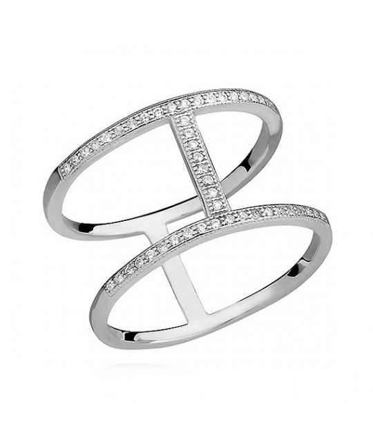 Silver big ring with white zirconia, EU-13