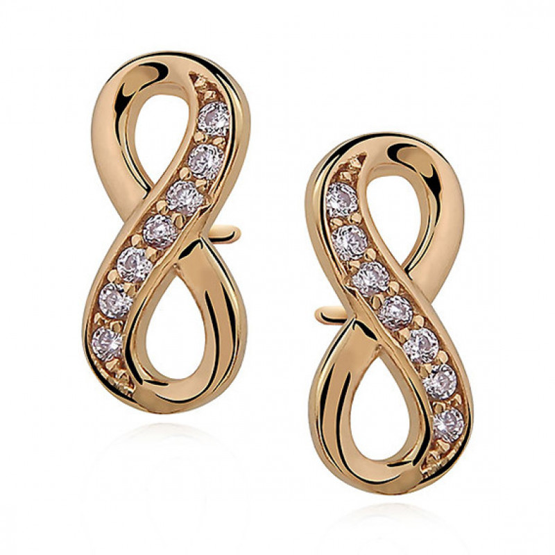 Silver earrings white zirconia, Infinity gold-plated