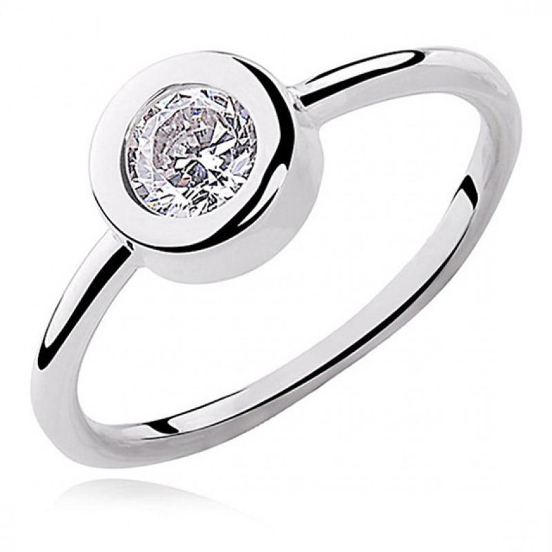 Silver round ring with white zirconia, EU-14