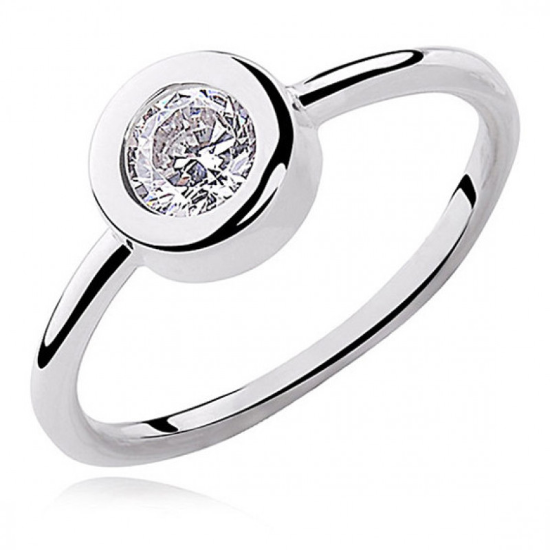 Silver round ring with white zirconia, EU-13