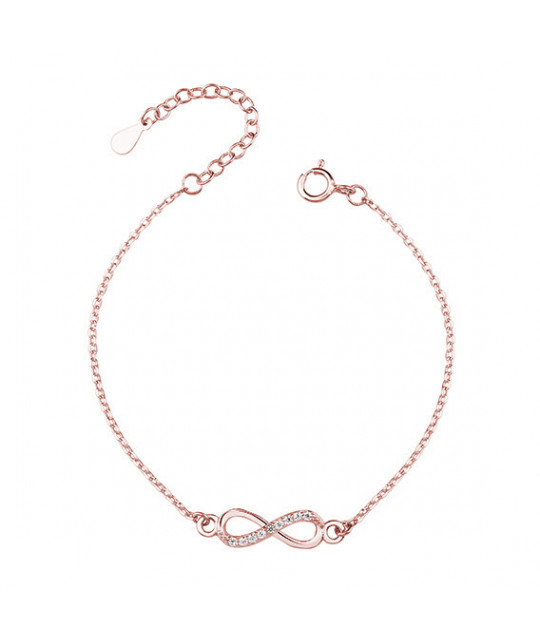 Silver rose gold-plated bracelet, Infinity with zirconia