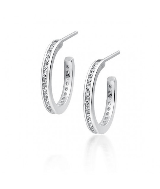 Silver earrings with zirconia, Open hoop