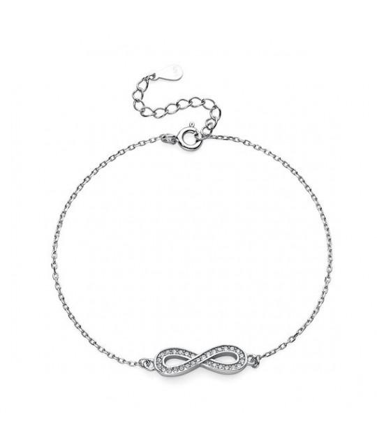 Silver bracelet Infinity with zirconia