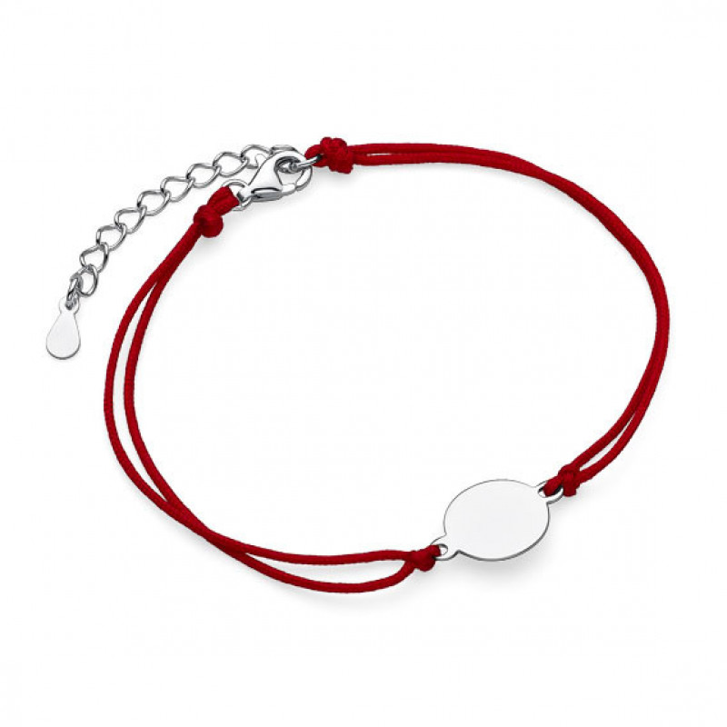 Red Kabbalah with silver charm, Circle