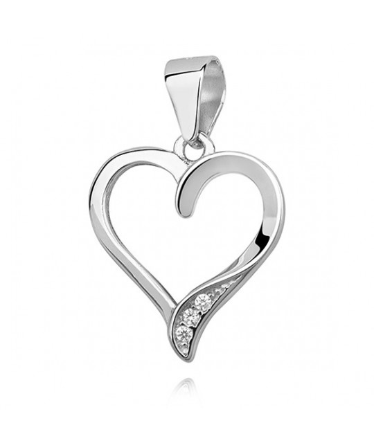 Silver pendant, Heart with zirconia