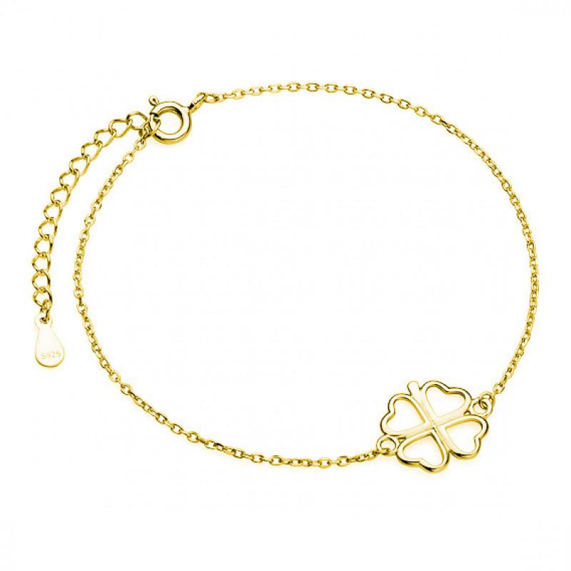 Gold-plated silver bracelet, Clover