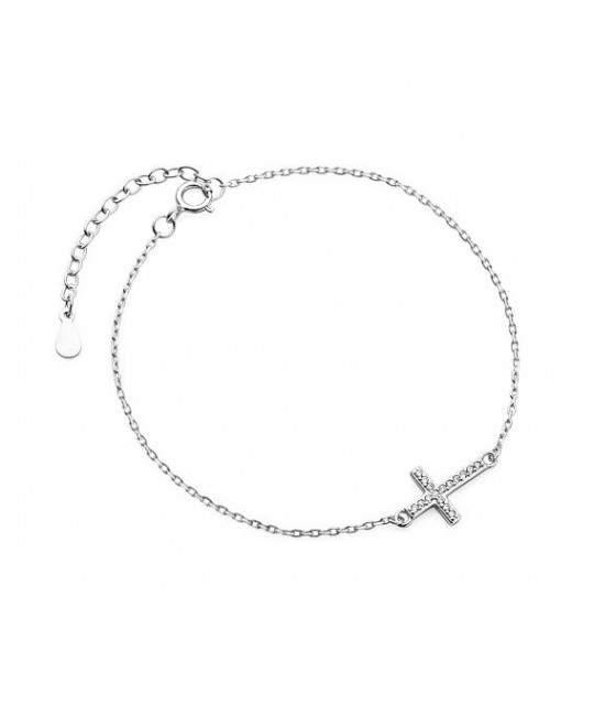 Silver bracelet, Cross with zirconia
