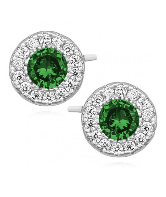 Silver elegant earrings with zirconia, round Emerald
