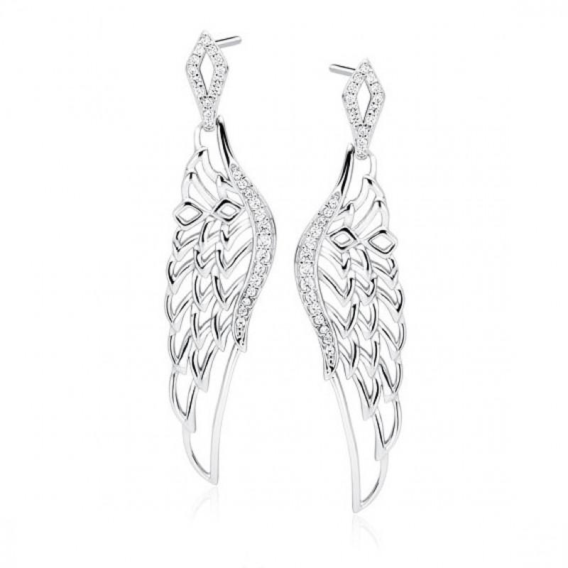 Silver earrings, Beautiful wings with zirconia