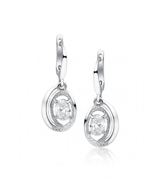 Silver earrings with white zirconia, 29 mm