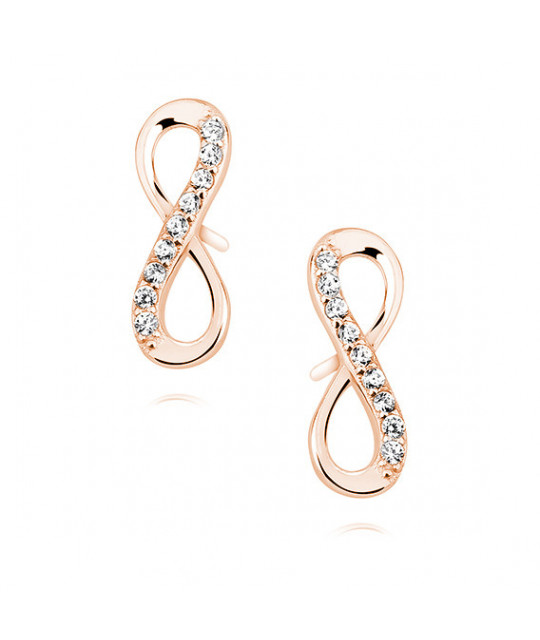 Silver earrings white zirconia, Rose gold-plated infinity