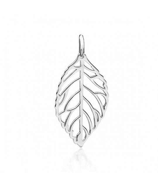 Silver leaf pendant, 32mm