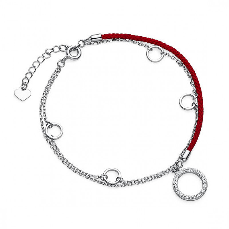 Silver and red bracelet, Circles