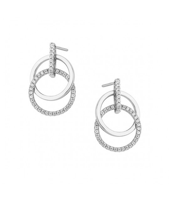 Silver earrings, Cirlces with zirconia