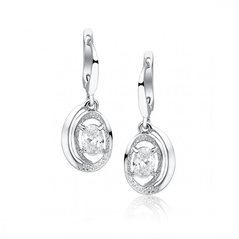 Silver earrings with white zirconia, 29mm