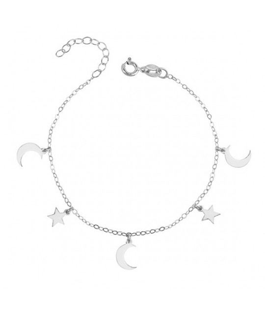 Silver bracelet with moon and star pendants