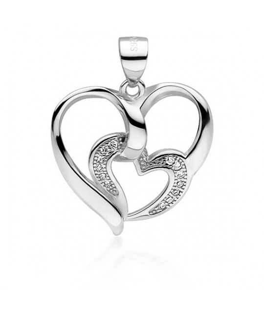 Silver pendant with zirconia, Heart with smaller heart