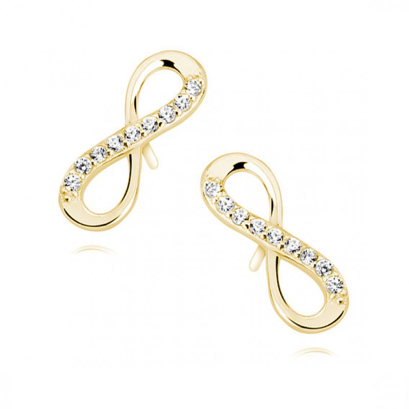 Silver earrings white zirconia, Gold-plated infinity