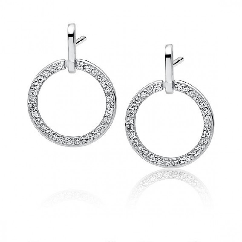 Silver elegant earrings with zirconia, Circle